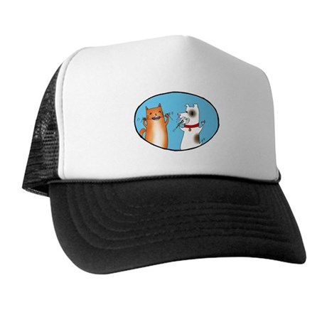 Cat and Dog Cleaning Their Te Trucker Hat