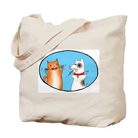 Cat and Dog Cleaning Their Te Tote Bag