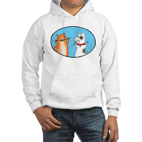 Cat and Dog Cleaning Their Te Hooded Sweatshirt