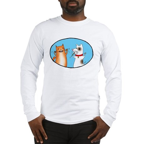Cat and Dog Cleaning Their Te Long Sleeve T-Shirt
