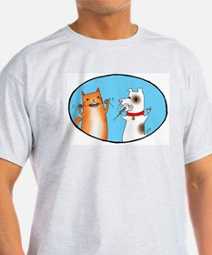 Cat and Dog Cleaning Their Te T-Shirt