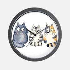 Three 3 Cats Wall Clock