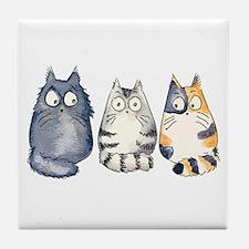 Three 3 Cats Tile Coaster