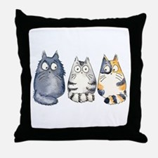 Three 3 Cats Throw Pillow