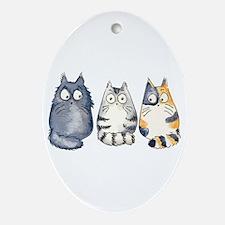 Three 3 Cats Ornament (Oval)