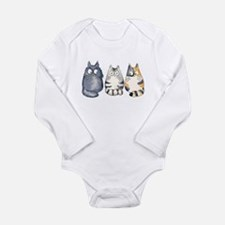 Three 3 Cats Long Sleeve Infant Bodysuit