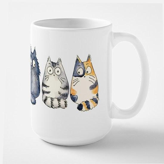 Three 3 Cats Large Mug