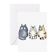 Three 3 Cats Greeting Cards (Pk of 10)