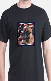 Bullmastiff Patriotic USA Flag  Black T-Shirt