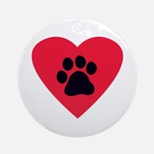 Heart Paw Print Ornament (Round)