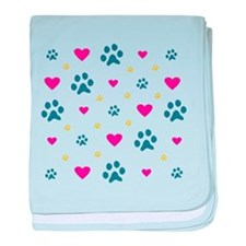 Paw Prints and Hearts baby blanket