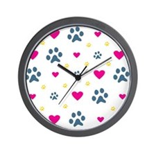 Paw Prints and Hearts Wall Clock