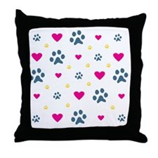 Paw Prints and Hearts Throw Pillow