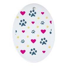 Paw Prints and Hearts Ornament (Oval)