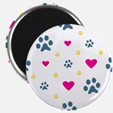 Paw Prints and Hearts Magnet
