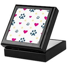 Paw Prints and Hearts Keepsake Box