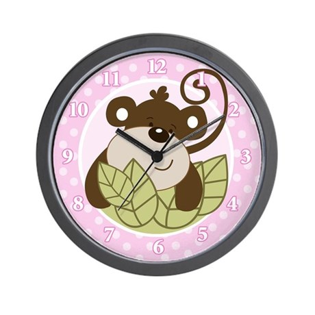 Silly Monkey Wall Clock (Pink Girl)