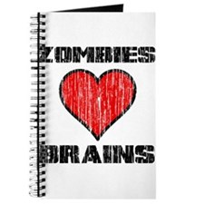 Vintage Zombies Heart Brains Journal