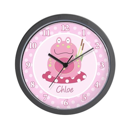 Pink Froggy Frog Wall Clock