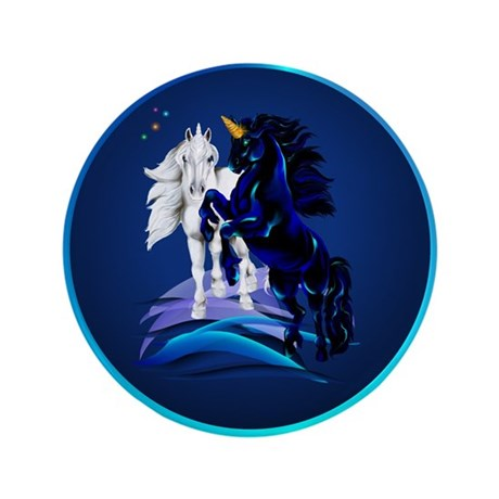 """Two Unicorn Stallions 3.5"""" Button (100 pack)"""