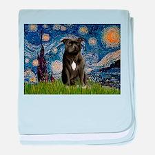 Starry-Am.Staffordshire (blk) baby blanket