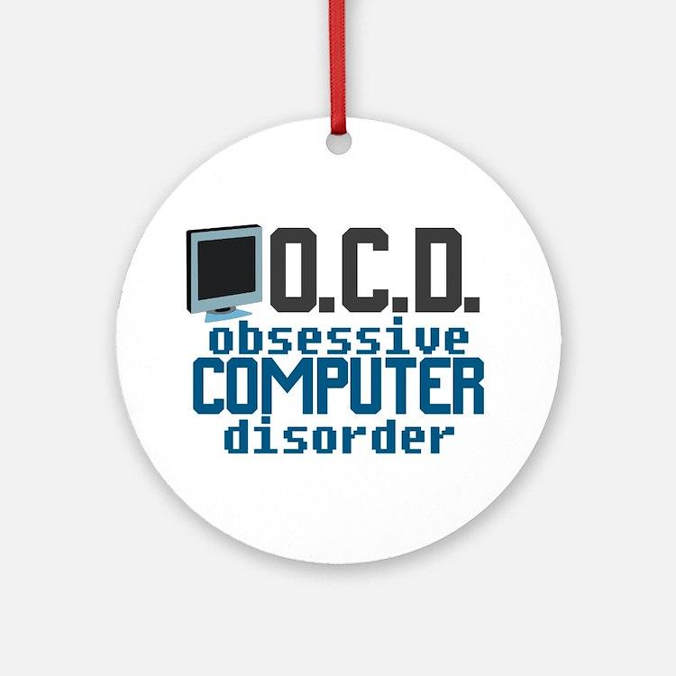 Funny Computer Ornament (Round)