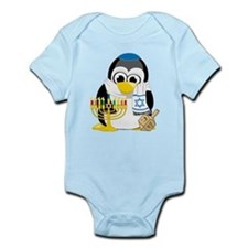 Hanukkah Scarf Penguin Infant Bodysuit