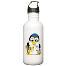 Hanukkah Scarf Penguin Water Bottle
