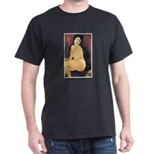Modigliani Seated Nude (Front) Black T-Shirt