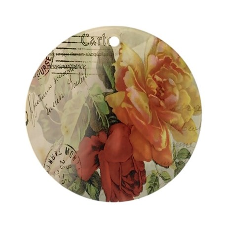 VINTAGE PARIS ROSES Ornament (Round)