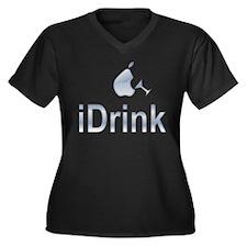 iDrink Women's Plus Size V-Neck Dark T-Shirt