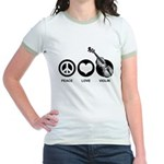 Peace Love Violin Jr. Ringer T-Shirt