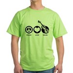 Peace Love Violin Green T-Shirt