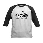 Peace Love Violin Kids Baseball Jersey