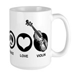 Peace Love Violin Large Mug
