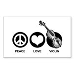 Peace Love Violin Sticker (Rectangle)
