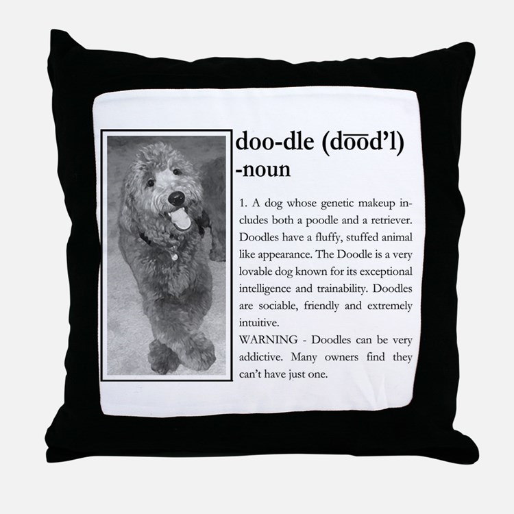 Cute Australian goldendoodle Throw Pillow