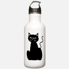 Black Cartoon Cat Water Bottle