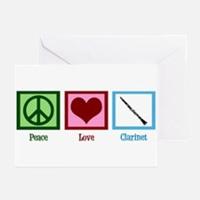 Peace Love Clarinet Greeting Cards (Pk of 10)