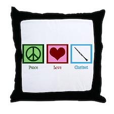 Peace Love Clarinet Throw Pillow