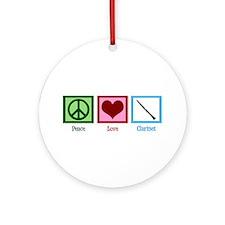 Peace Love Clarinet Ornament (Round)