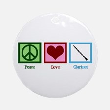 Peace Love Clarinet Ornament (Round)