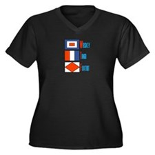 WTF Signal Flags Women's Plus Size V-Neck Dark T-S