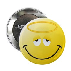 """Angel Smiley Face 2.25"""" Button (10 pack)"""