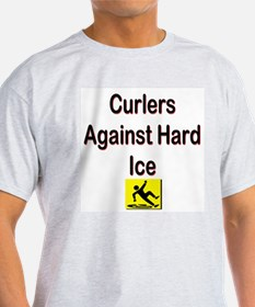 Curlers Against Hard Ice Ash Grey T-Shirt
