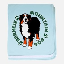 Standing Bernese Mountain Dog baby blanket
