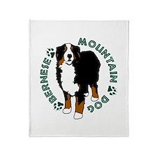 Standing Bernese Mountain Dog Throw Blanket