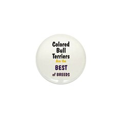 Colored Bull Terrier Best Mini Button (100 pack)