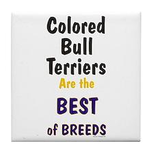 Colored Bull Terrier Best Tile Coaster