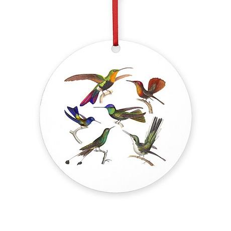 Six Pretty Hummingbirds Ornament (Round)